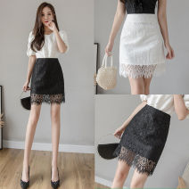 skirt Spring 2021 S,M,L,XL,2XL White, black Short skirt Versatile High waist A-line skirt Solid color Type A 25-29 years old ZD 51% (inclusive) - 70% (inclusive) Lace other zipper