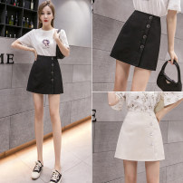skirt Spring 2021 S,M,L,XL Off white, black Short skirt Versatile High waist A-line skirt Solid color Type A 25-29 years old ZD 51% (inclusive) - 70% (inclusive) other other Button