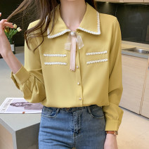 shirt White, yellow S,M,L,XL,2XL Spring 2021 other 51% (inclusive) - 70% (inclusive) Long sleeves commute Regular stand collar Single row multi button routine Solid color 25-29 years old Straight cylinder Korean version ZD Bowknot, tridimensional decoration, button Chiffon