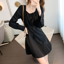 Dress Spring 2021 black S,M,L Short skirt singleton  Long sleeves commute square neck High waist Solid color Socket A-line skirt shirt sleeve Others 25-29 years old Type A Korean version ZD 51% (inclusive) - 70% (inclusive)