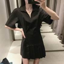 Dress Spring 2021 black XS,S,M,L Short skirt singleton  Long sleeves V-neck High waist Solid color Z-TRF