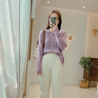 Wool knitwear Spring 2021 Average size Ginger  , Off white , Taro purple , Mustard green Long sleeves singleton  Cardigan other 51% (inclusive) - 70% (inclusive) Regular routine commute Straight cylinder routine Solid color Socket Korean version M2022 25-29 years old IMFLY