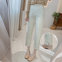 Casual pants Off white, thin and black S/26,M/27,L/28 Spring 2021 Ninth pants Straight pants High waist commute routine 25-29 years old 91% (inclusive) - 95% (inclusive) K0786 IMFLY polyester fiber Korean version polyester fiber