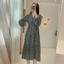 Dress Spring 2021 White flowers, black flowers, blue flowers Average size Mid length dress singleton  Long sleeves commute V-neck High waist Decor Socket A-line skirt routine 25-29 years old Type A IMFLY Korean version Q1165 More than 95% Chiffon polyester fiber