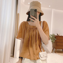 shirt routine other 30% and below Summer 2021 Short sleeve commute Regular payment square neck Solid color 25-29 years old Condom Straight tube C1121 Korean version IMFLY One size fits all Green, caramel orange, Beixing