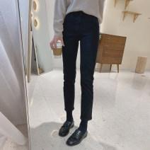 Jeans Autumn 2020 Denim black (Velour), denim black (plush), denim black (spring) S/26,M/27,L/28,XL/29 Ninth pants High waist Straight pants routine 25-29 years old Dark color K0631 IMFLY