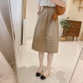 skirt Autumn 2020 M / twenty-seven , L / twenty-eight Black, khaki, white Mid length dress commute High waist A-line skirt Solid color Type A 25-29 years old Q1171 More than 95% other IMFLY cotton Korean version