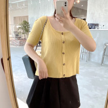 Women's large Summer 2021 Apricot, purple, yellow, green, black, red L-xl, 2XL, 3XL T-shirt singleton  commute easy moderate Socket Short sleeve Solid color Korean version square neck polyester Three dimensional cutting DL7718 18-24 years old belt 96% and above