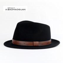 Hat Wool black M(56-58cm) L(58-60cm) formal hat Short eaves