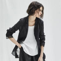 short coat Summer of 2019 1S,1M,1L,1XL White, black Long sleeves Medium length Thin money singleton  easy commute routine tailored collar A button Solid color 25-29 years old The sun is shining 96% and above Asymmetry 19X0201W hemp
