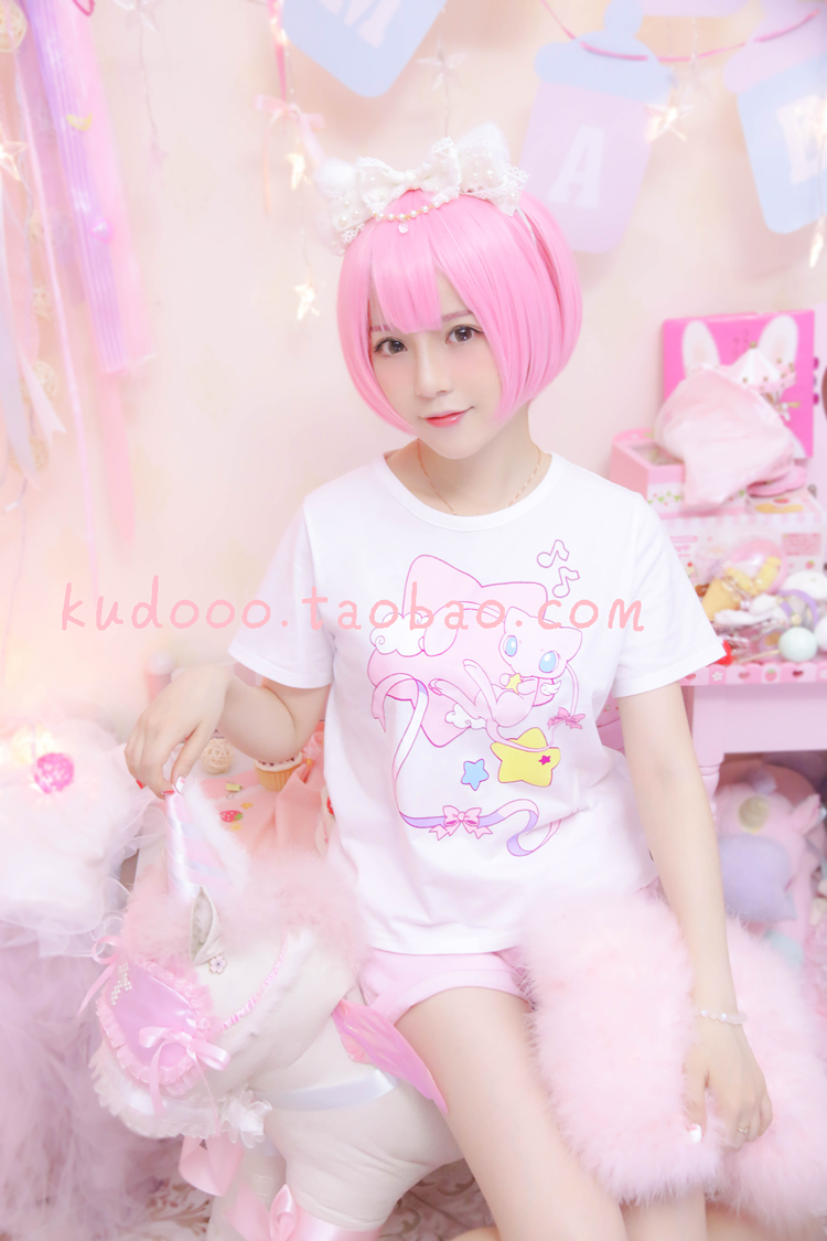 Cartoon T-shirt / Shoes / clothing T-shirt Over 3 years old Magic Baby / Pokemon series Customized Classic white special Pink M L special Summer and spring Chinese Mainland Leisure Lovely Japanese fashion trend sweet simple cotton dream
