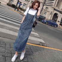 Dress Spring 2021 S,M,L,XL,2XL Mid length dress singleton  Sleeveless commute square neck High waist Solid color straps 25-29 years old Type H Korean version