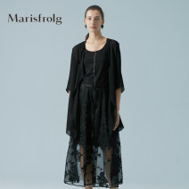 short coat Summer 2020 S M L XL 2XL black Long sleeves have cash less than that is registered in the accounts Thin money singleton  easy Versatile routine Crew neck A button Solid color 35-39 years old Marisfrog / masfield 96% and above silk silk Mulberry silk 100%