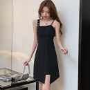 Dress Summer 2021 black S,M,L,XL Short skirt singleton  Sleeveless commute One word collar High waist Solid color Socket Irregular skirt other camisole 18-24 years old Type A Korean version Open back, stitching, zipper 51% (inclusive) - 70% (inclusive) other cotton