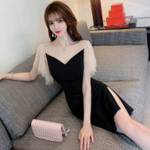 Dress Summer 2021 black S,M,L,XL Middle-skirt singleton  Long sleeves commute V-neck High waist Solid color Socket One pace skirt Lotus leaf sleeve Others 25-29 years old Type X Korean version Dewdrop, mesh, stitching 51% (inclusive) - 70% (inclusive) other nylon