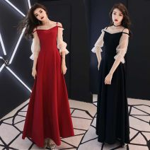 Dress Spring 2021 Red, black S,M,L,XL longuette singleton  elbow sleeve commute One word collar High waist Solid color Socket Pleated skirt puff sleeve camisole 18-24 years old T-type Korean version Splicing, mesh 81% (inclusive) - 90% (inclusive) brocade