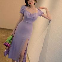 Dress Summer 2020 violet S,M,L Mid length dress singleton  Short sleeve V-neck High waist Solid color Socket One pace skirt Type H ZY & middot, HT / Wisteria purpurea