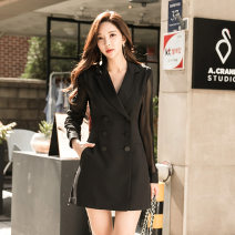 Dress Autumn 2020 black S,M,L,XL Middle-skirt singleton  Long sleeves tailored collar middle-waisted Solid color Socket A-line skirt Other / other 3879HF225-A other
