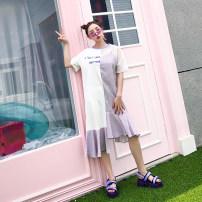 Dress Summer of 2018 Purple, pink Average size Mid length dress singleton  Short sleeve street Crew neck High waist lattice Socket A-line skirt 18-24 years old Type A 51% (inclusive) - 70% (inclusive) cotton Hip hop