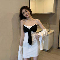 Dress Summer 2021 White, black Average size Short skirt singleton  Sleeveless commute High waist other A-line skirt camisole 18-24 years old Type A Korean version Bowknot, stitching 3.31A