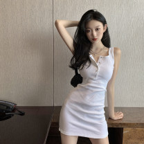 Dress Summer 2021 White, black S,M,L Short skirt singleton  Sleeveless commute Crew neck High waist Solid color Single breasted A-line skirt camisole 18-24 years old Type A Korean version Button