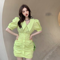 Dress Summer 2021 Yellow dress, white dress, blue dress M, L Middle-skirt singleton  Short sleeve commute Polo collar High waist Solid color Single breasted A-line skirt puff sleeve 18-24 years old Type A Korean version Pleats, buttons four . 8A