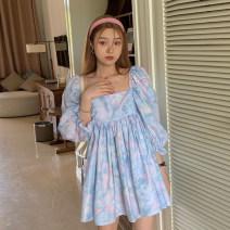 Dress Summer 2021 Decor Average size Short skirt singleton  elbow sleeve commute square neck High waist A-line skirt puff sleeve 18-24 years old Type A Korean version 4.7B