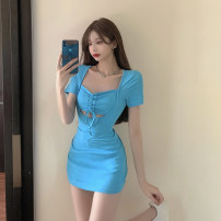 Dress Summer 2021 White, blue Average size Short skirt singleton  Short sleeve commute square neck Solid color routine Hanging neck style 18-24 years old Type A Korean version Hollow out, bandage 4.13D