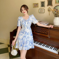 Dress Summer 2021 blue S,M,L,XL Middle-skirt singleton  Short sleeve commute V-neck High waist Broken flowers A-line skirt routine 18-24 years old Type A Retro bow 4.15A