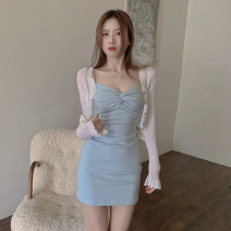 Dress Summer 2021 T-shirt, dress Average size Short skirt singleton  Sleeveless commute V-neck Solid color A-line skirt camisole 18-24 years old Type A Korean version fold 4.6A