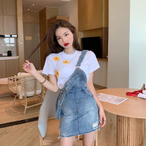 Dress Summer 2021 T-shirt , Suspender skirt S. M, l, average size Short skirt Two piece set commute High waist Solid color straps 18-24 years old Type A Retro Holes, buttons 4.11A