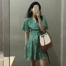 Dress Summer 2021 green S, M Middle-skirt singleton  Short sleeve commute V-neck High waist Broken flowers A-line skirt routine 18-24 years old Type A Korean version Frenulum 4.9A