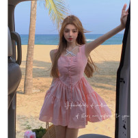 Dress Summer 2021 Butterfly vest, pink dress S,M,L Short skirt Two piece set Sleeveless commute square neck High waist Solid color Single breasted A-line skirt camisole 18-24 years old Type A Korean version Open back, fold, button 4.10C