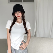 T-shirt Gray, white, blue, black Average size Summer 2021 Short sleeve Crew neck Self cultivation have cash less than that is registered in the accounts routine commute other 30% and below 18-24 years old Korean version youth Solid color 3.30C