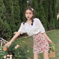 Fashion suit Summer 2021 S. M, average size White shirt, floral skirt 18-25 years old 4.5A