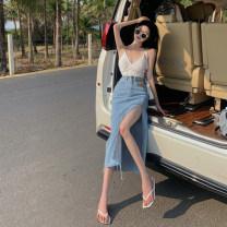 skirt Summer 2021 S, M Blue, black Mid length dress commute High waist Denim skirt Solid color Type A 18-24 years old 3.28B Korean version