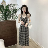 Dress Summer 2021 Plaid skirt with neck S, M Mid length dress singleton  Sleeveless commute V-neck lattice Hanging neck style 18-24 years old Type A Korean version Open back, fold, lace up, stitching 4.12C