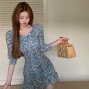 Dress Summer 2021 Blue, pink M, L Short skirt singleton  elbow sleeve commute V-neck High waist Decor Socket A-line skirt puff sleeve 18-24 years old Type A Korean version zipper 4.12B