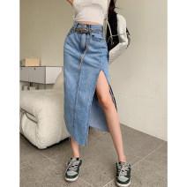 skirt Summer 2021 S,M,L,XL blue Mid length dress commute High waist Denim skirt Solid color 18-24 years old 4.8C Chain, pocket, button, zipper Korean version