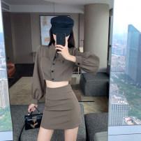 Fashion suit Spring 2021 S, M Black blazer, black skirt, camel suit, camel skirt 18-25 years old 9.1C