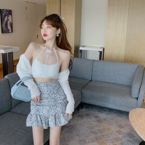 Fashion suit Summer 2021 S. M, l, average size Bow vest, white T-shirt, leopard skirt 18-25 years old 4.14C