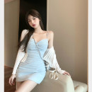 Dress Summer 2021 Blue suspender skirt, beige suspender skirt, white cardigan Average size Short skirt Two piece set Sleeveless commute V-neck Solid color zipper camisole 18-24 years old Type A Korean version Open back, zipper 4.8C
