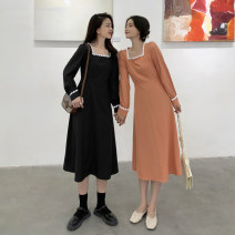 Dress Spring 2021 Orange, black M, L Mid length dress singleton  Long sleeves commute square neck High waist other A-line skirt other 18-24 years old Type A Korean version 4.9A