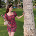 Dress Summer 2021 Decor S,M,L Short skirt singleton  Short sleeve commute square neck Broken flowers Socket A-line skirt puff sleeve 18-24 years old Type H Retro 4.6B