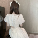 Dress Summer 2021 Apricot Average size Mid length dress singleton  Short sleeve commute square neck High waist Broken flowers A-line skirt puff sleeve 18-24 years old Type A Korean version Open back, lace up, button 4.7A