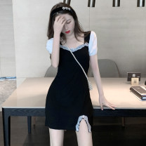 Dress Summer 2021 Picture color S,M,L Short skirt Fake two pieces Short sleeve commute square neck High waist other A-line skirt puff sleeve 18-24 years old Type A Retro Stitching, lace 3.30A