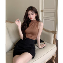 T-shirt Coffee half high collar Average size Summer 2021 Sleeveless Half high collar Straight cylinder Regular commute other 30% and below 18-24 years old Korean version other Solid color 4.7C