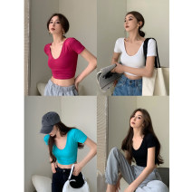 T-shirt White, blue, black, rose red, army green Average size Summer 2021 Short sleeve V-neck Self cultivation have cash less than that is registered in the accounts routine commute other 30% and below 18-24 years old Korean version youth Solid color 4.11C