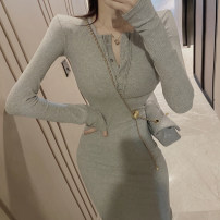 Dress Spring 2021 Gray, black Average size Mid length dress singleton  Long sleeves commute other Decor Three buttons other routine 18-24 years old Type A Korean version Button 7.30C
