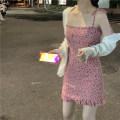 Dress Summer 2021 Dress, knitwear S. M, average size Short skirt Two piece set Sleeveless commute One word collar Broken flowers A-line skirt camisole 18-24 years old Type H Korean version 4.9B
